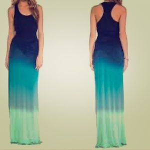 Racer back Ombré Blue Ruched MaxiDress New WO Tags